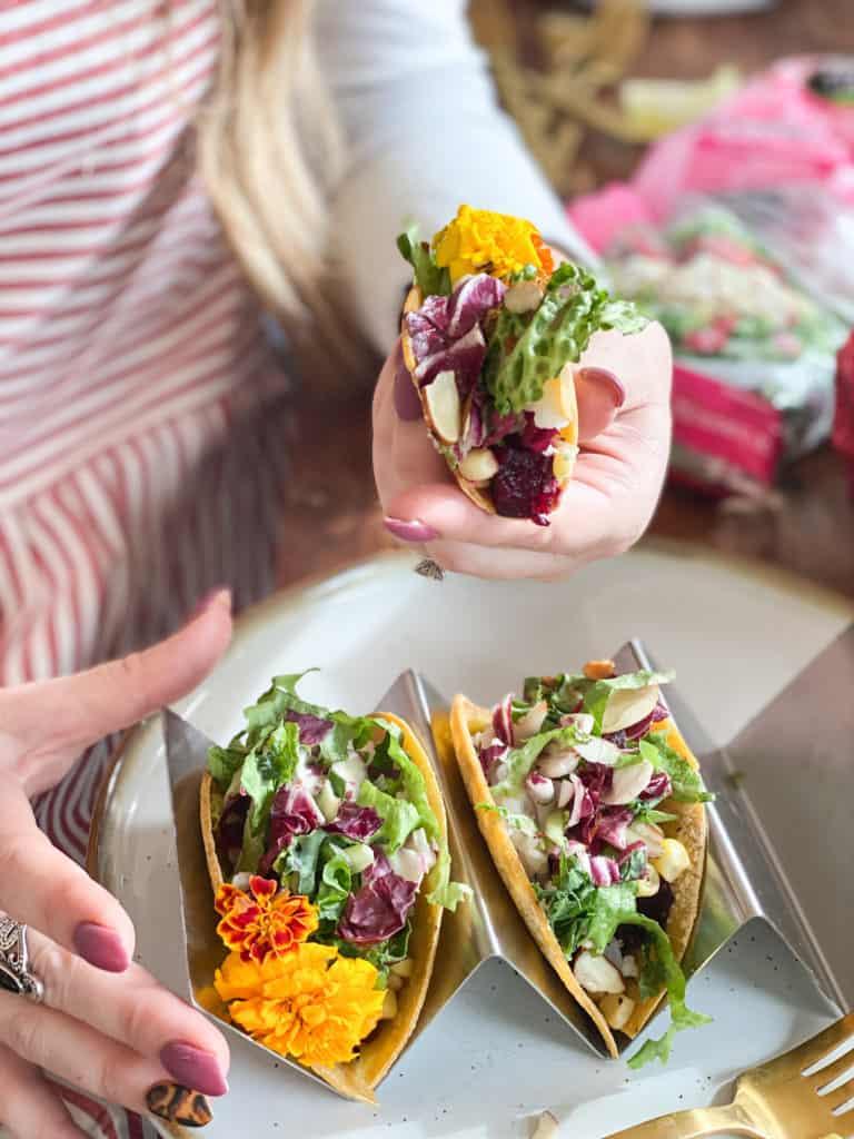 Salad bar beet tacos