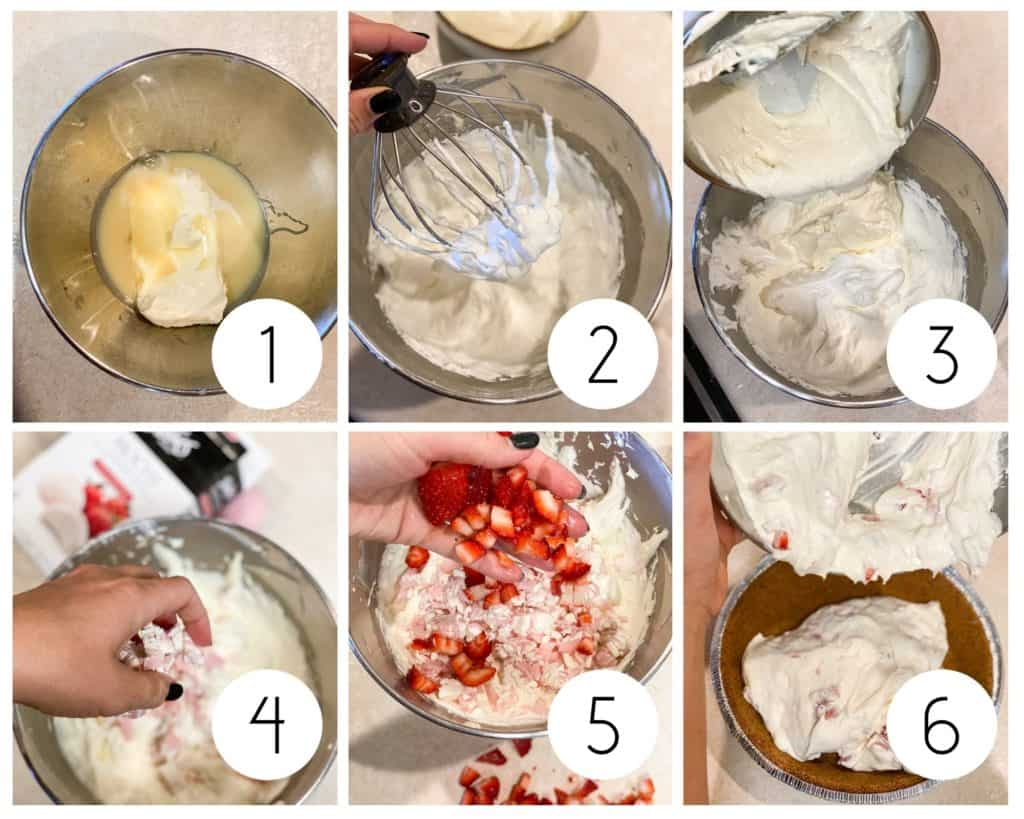 Step by step frozen strawberry pie collage