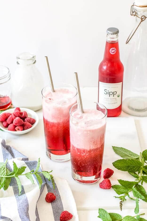 Raspberry mint Italian soda