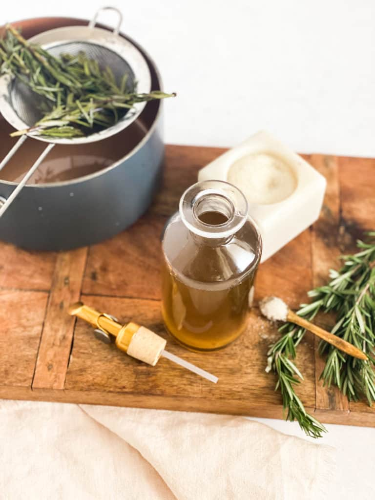 Rosemary Simple Syrup in a glass jar