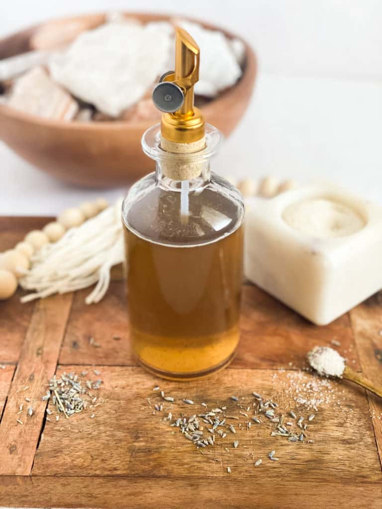 Lavender Simple Syrup in a glass jar
