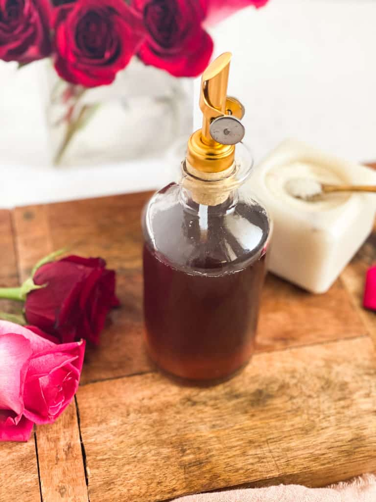 Rose Simple Syrup in a glass jar