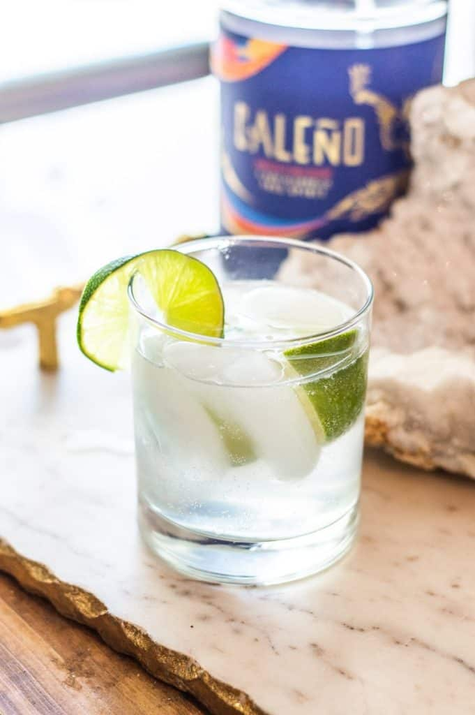 Non-alcoholic gin and tonic with lime