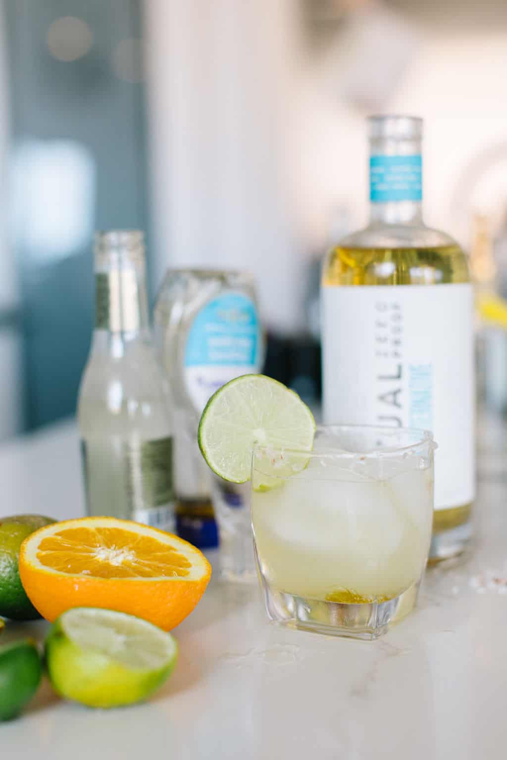Virgin margarita with ingredients on a counter