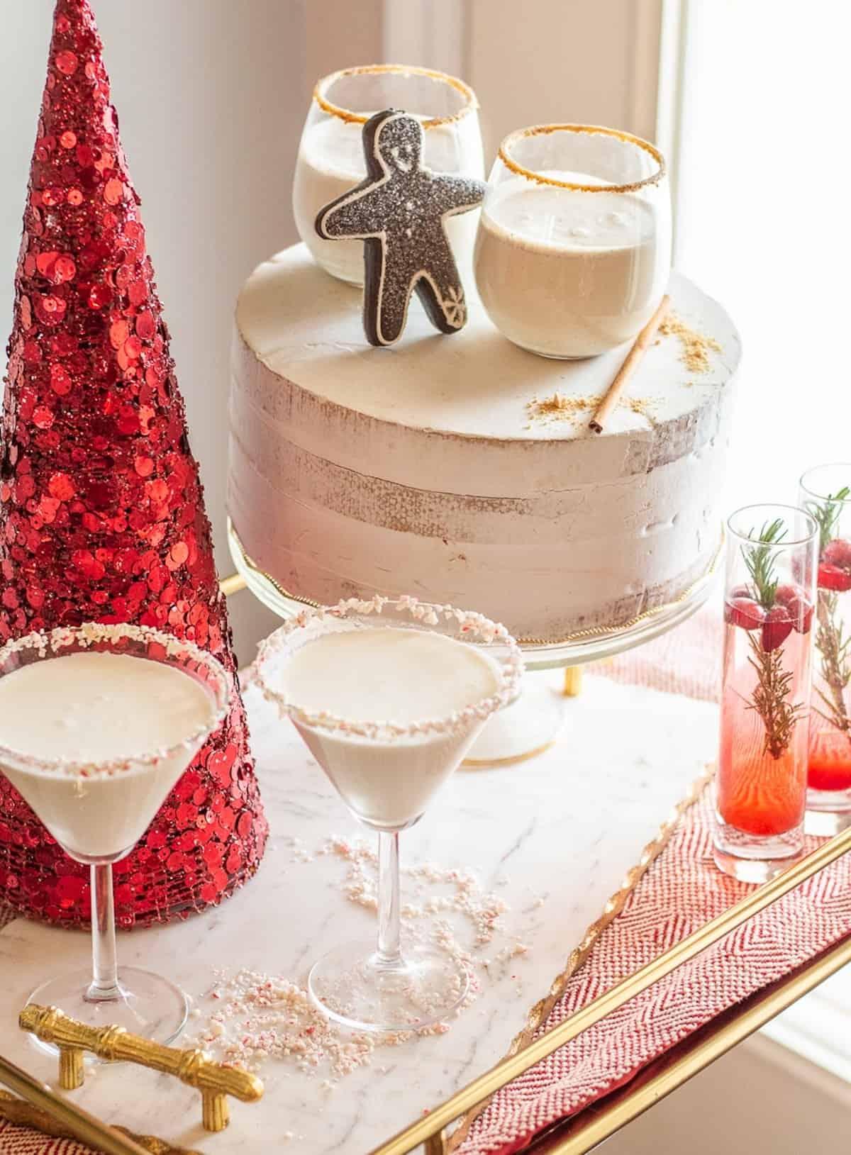 Candy Cane Martini Christmas Mocktails on a bar cart