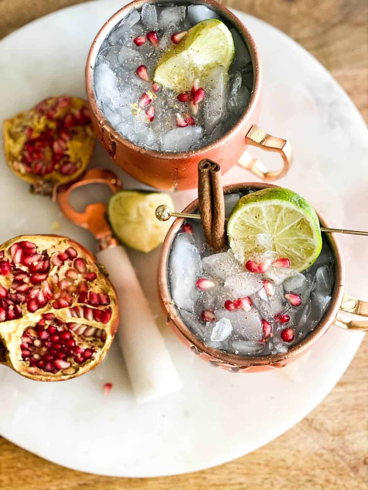 Thanksgiving mocktails overhead shot in copper cups