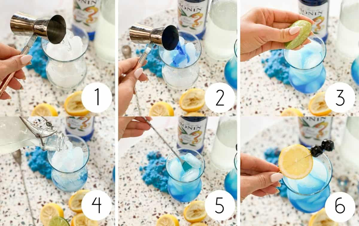 Blue lagoon mocktail step by step instructions