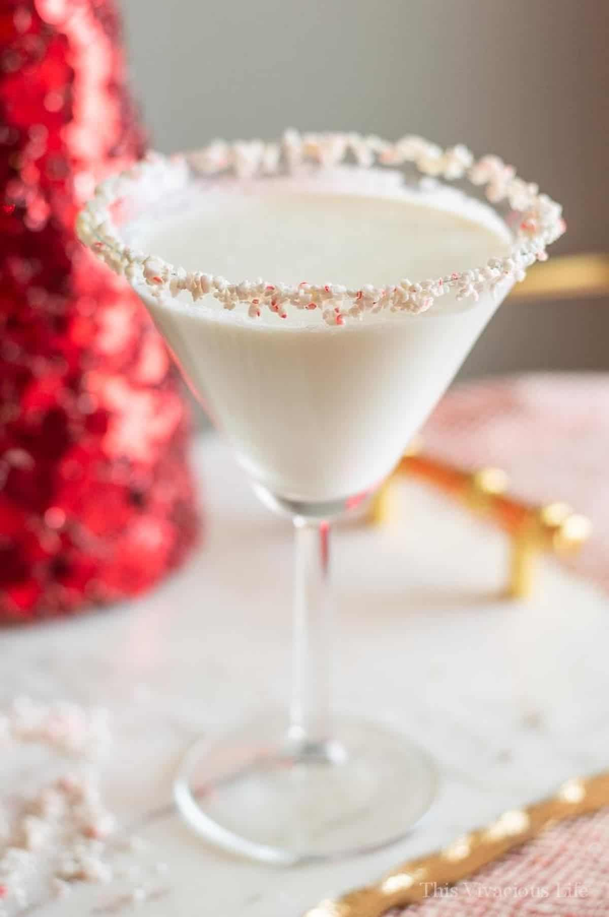 Our candy cane Christmas mocktails in a martini glass