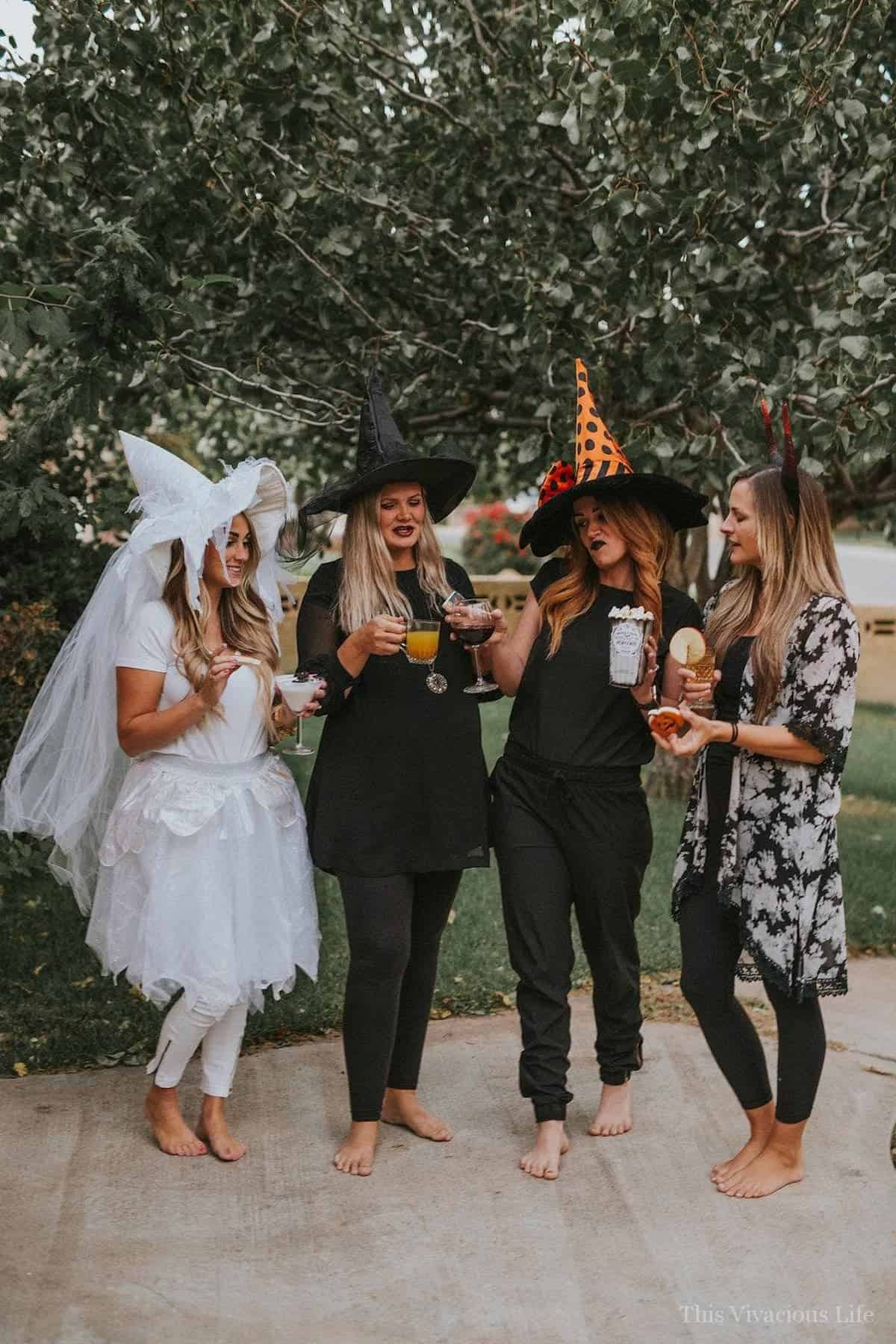 Witches with Halloween mocktails