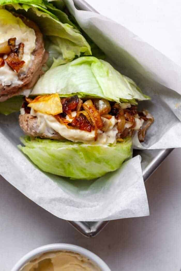 Keto turkey burgers with lettuce wrap
